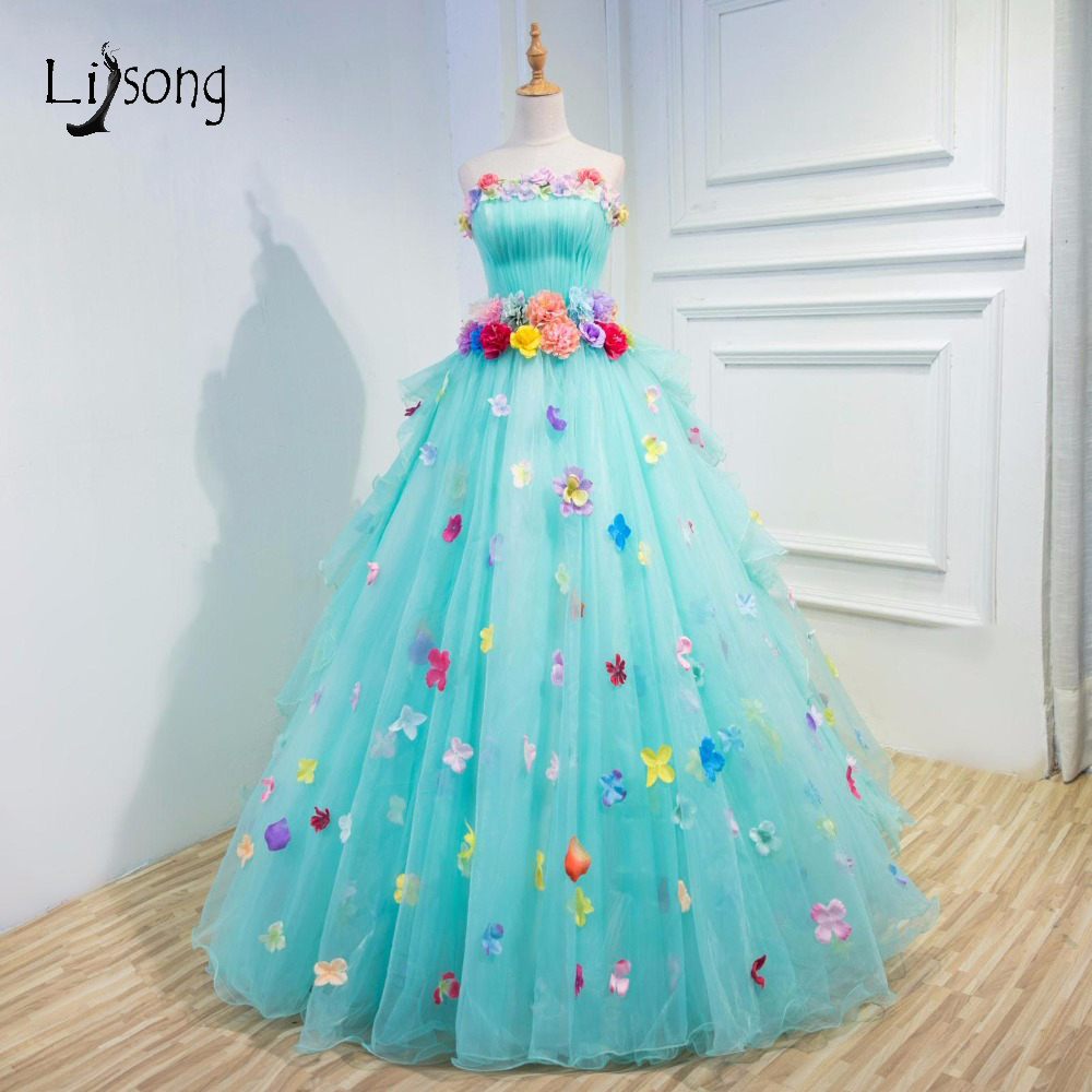 Sweet Candy Color Sky Blue Puffy Tulle Wedding Dresses 2017 Romantic 3D Flower Bridal Gowns Off Shoulder Lace Up Casamento A129 In From