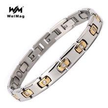 Браслеты welmag с кристаллами для женщин магнитный браслет золотого