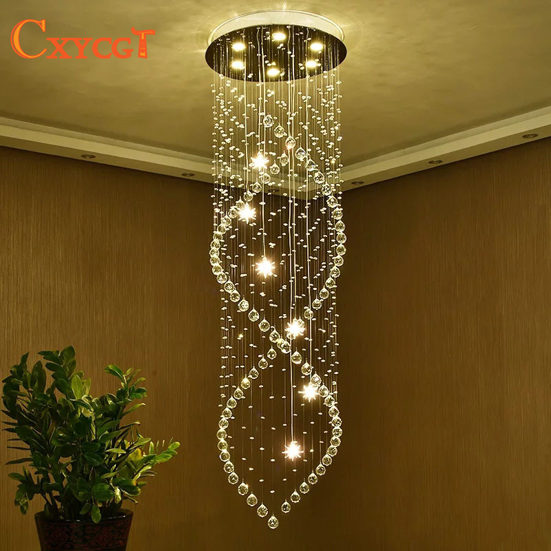 k9 Modern Crystal chandelier Living room Spiral stair chandelier Large living room Modern crystal lamp zx modern k9 crystal chandelier hanging wire crystal ball pendant lamp gu10 led light double entry stair living room hall lamp