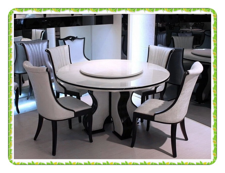 European Style Round Marble Dining Table Rotary White Kitchen Table - 30 round marble table top