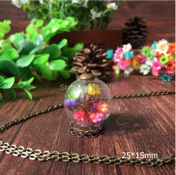 free ship 20set/lot 25*15mm Glass Bubble vial with lace base with top cap with 70cm necklace set DIY