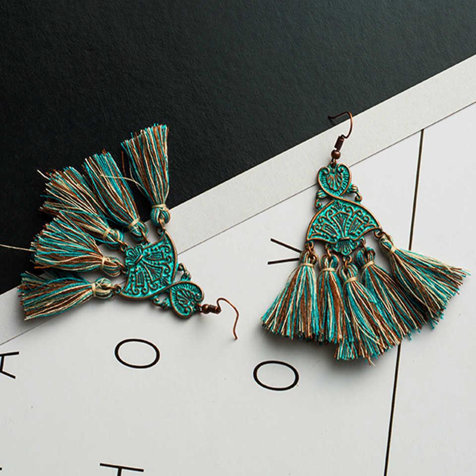 2018 New Long Fringed Tassel Earrings Geometric Metal Leaf Leaves Stones Green Thread Dream Drop Pom Pom Earring Beach Jewerly