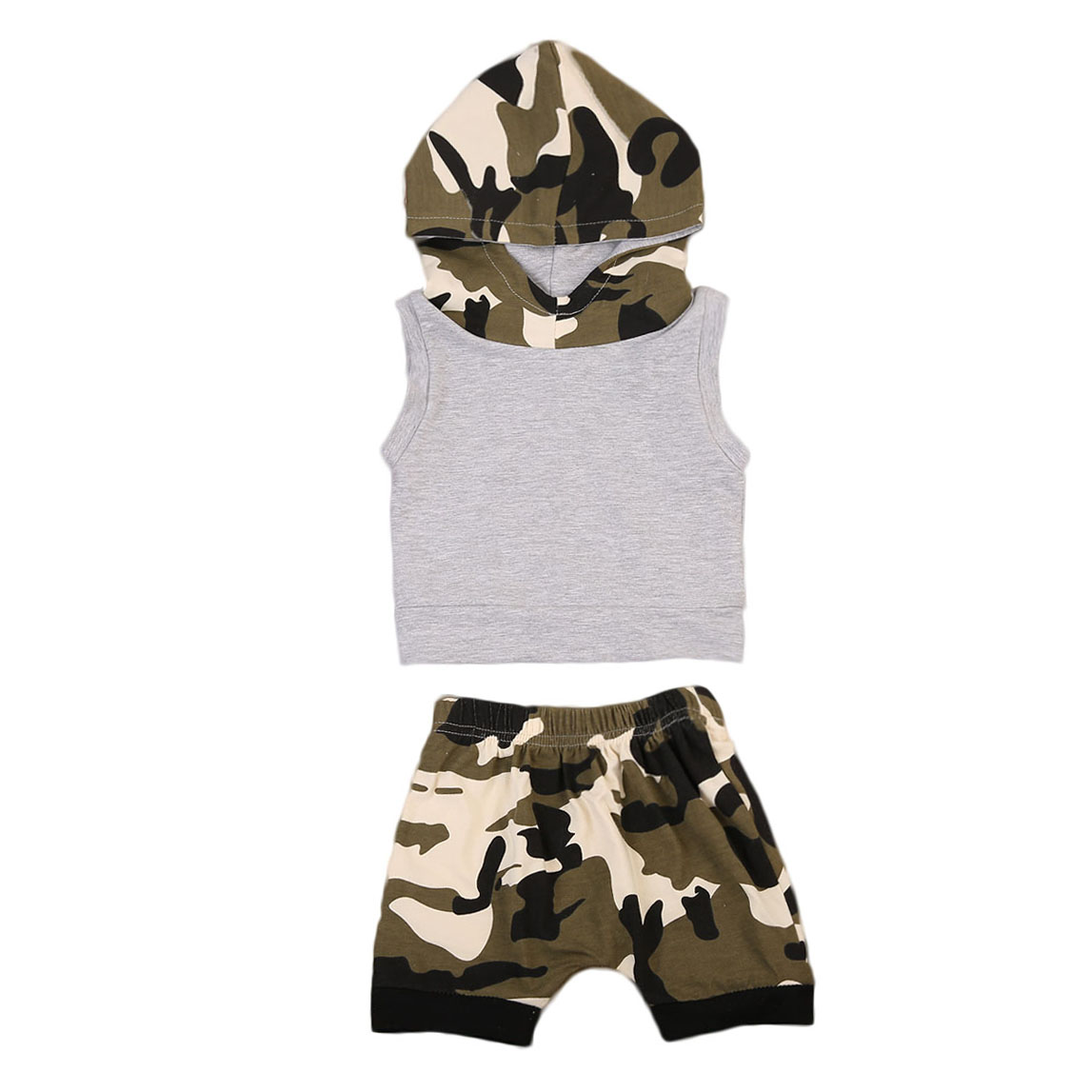 2Pcs Newborn Kids Baby Boys Camouflage Sets Sleeveless Hooded Hoodies Casual Pants Clothes Outfits Sets Summer 0-24 M