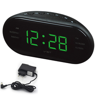 Led AM FM Radio Digital Brand Alarm Clock Backlight Snooze Electronic Designer Home Table Clock Radio