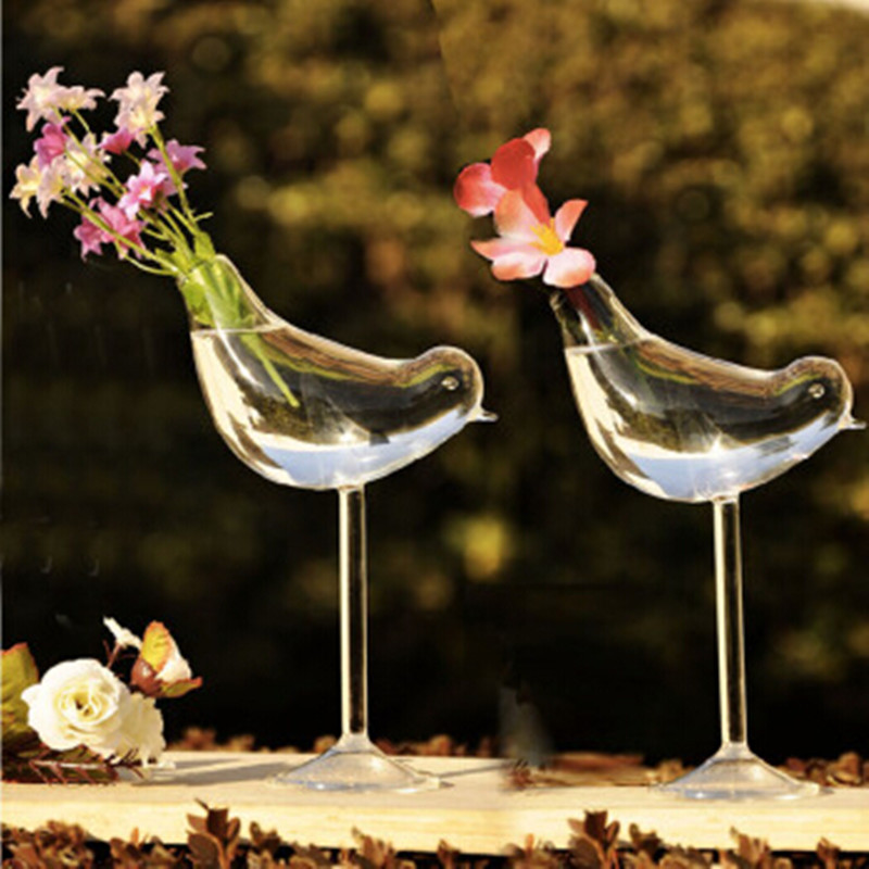 Creative Tall Bird Vase Glass Home Decoration Hotel Decor Flower Containers Wedding Gift Couple Gifts Hot Sale May 2019