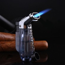 Double Tube Turbo Lighter Visible gas Spray Gun Blue Flame Butane Cigarettes Lighters Smoking Accessories