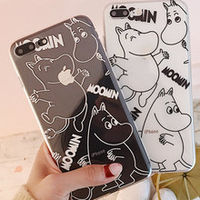 Cyato Transparent Cartoon Hippo Phone Case For iPhone X Silicone Tpu Soft Fashion Cover for 6 6S 7 8 Plus capa