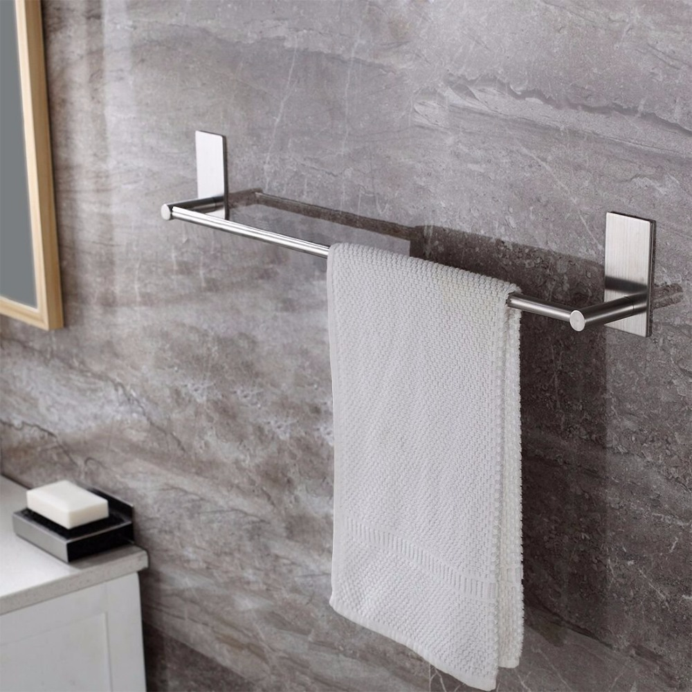 buy self adhesive bathroom towel bar brushed sus 304 stainless steel bath wall. Black Bedroom Furniture Sets. Home Design Ideas