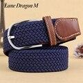 [Carril Drago] caliente de la Moda Señorita Han Ban Stretch Tejido Cinturón Hebilla de Cinturón Cinturón de Lona Hombres Elástica Bolsillos Del Pantalón Universal D0041