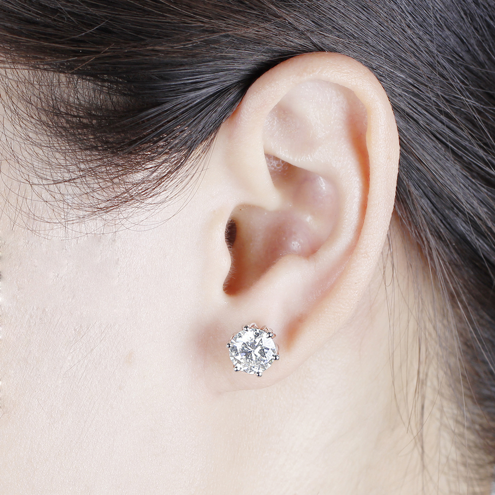Transgems Flower Shaped Solid 14K 585 White Gold 4CTW 8mm FG Color Clear Moissanite Stud Earring Push Back for Women Wedding