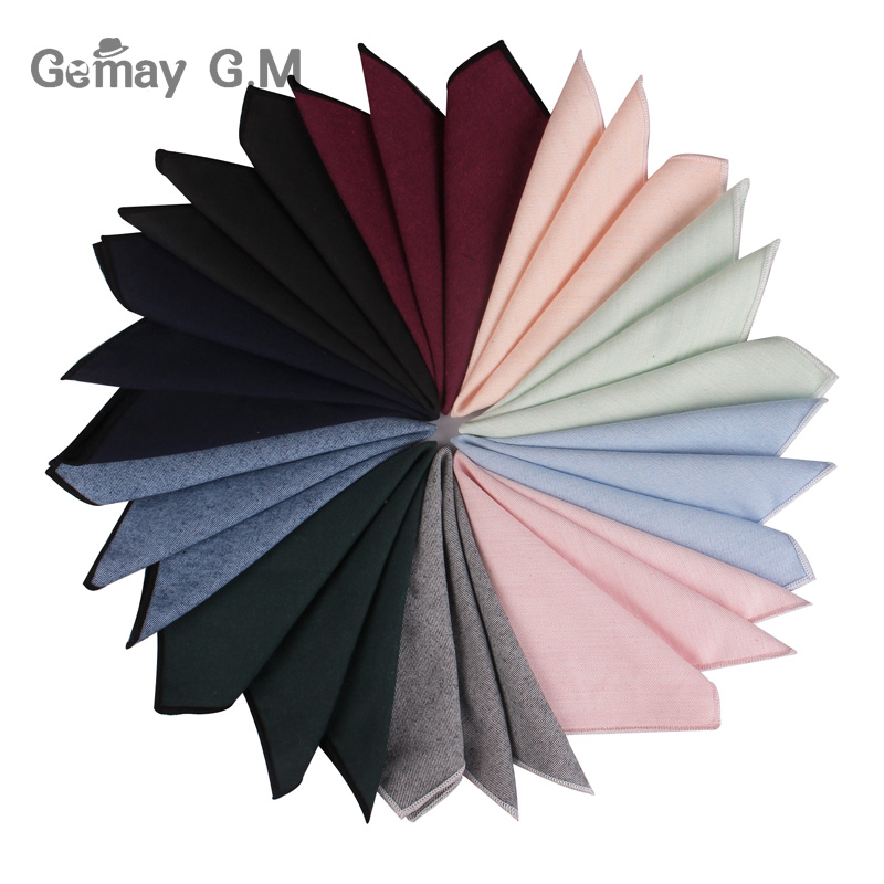 Solid Cotton Pocket Square For Men Suits Hanky Mens Handkerchiefs Casual Suit Square Handkerchief Towels For Party Scarves