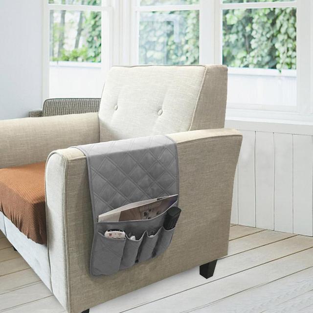 5 Pockets Sofa Handrail Couch Armrest Arm Rest Organizer Remote Control Holder Bag On Tv