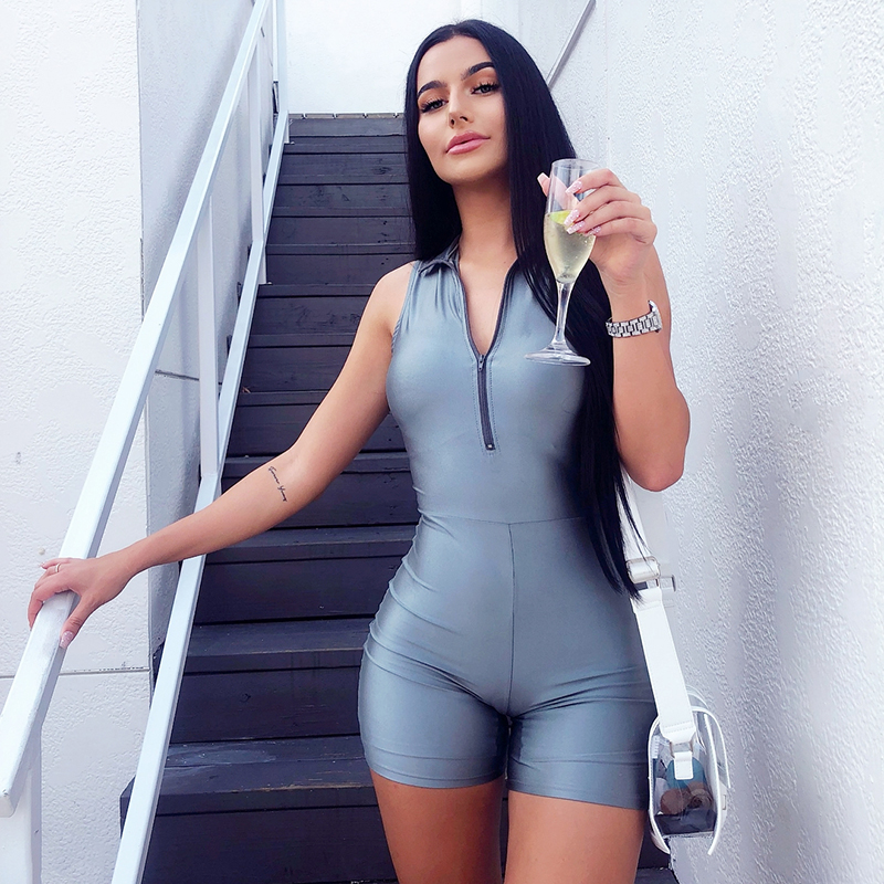 NewAsia Sexy Zipper Bodysuit Women Summer Jumpsuit Shorts Sporting Outfit Glossy Tracksuits Playsuits Skinny Street Bodysuit New