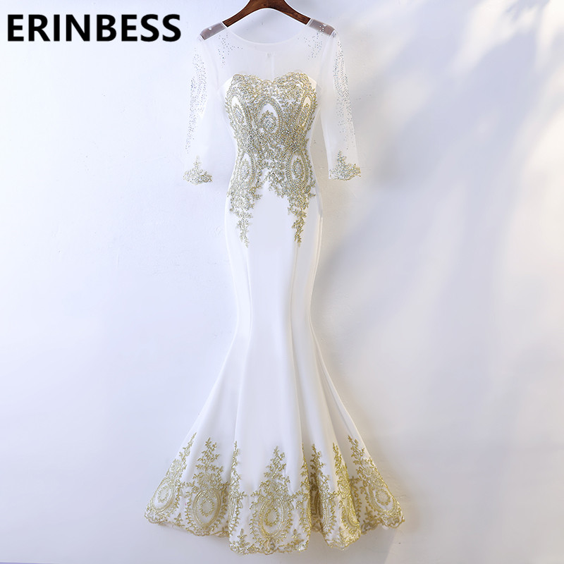 Vestido De Festa Sexy See Through Real Photo Gold Mermaid   Prom     Dresses   Appliques Beaded Scoop Neck 3/4 Sleeve Evening Gowns