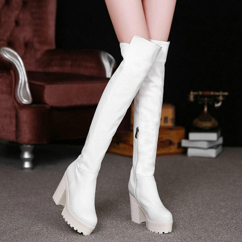 Plus forme Haute Taille Genou Noir Hauts Chaussures Femmes Pu Talons Blanc D'hiver blanc Zawsthia Le Plate 43 Sur 42 Chunky Noir Longues De Bottes qwUxaEpCH