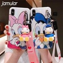 купить JAMULAR Cartoon Bracket Doll Hand Strap Phone Case For iPhone X XS MAX XR 7 6 6s 8 Plus Donald Daisy Blue Ray Soft Back Cover дешево