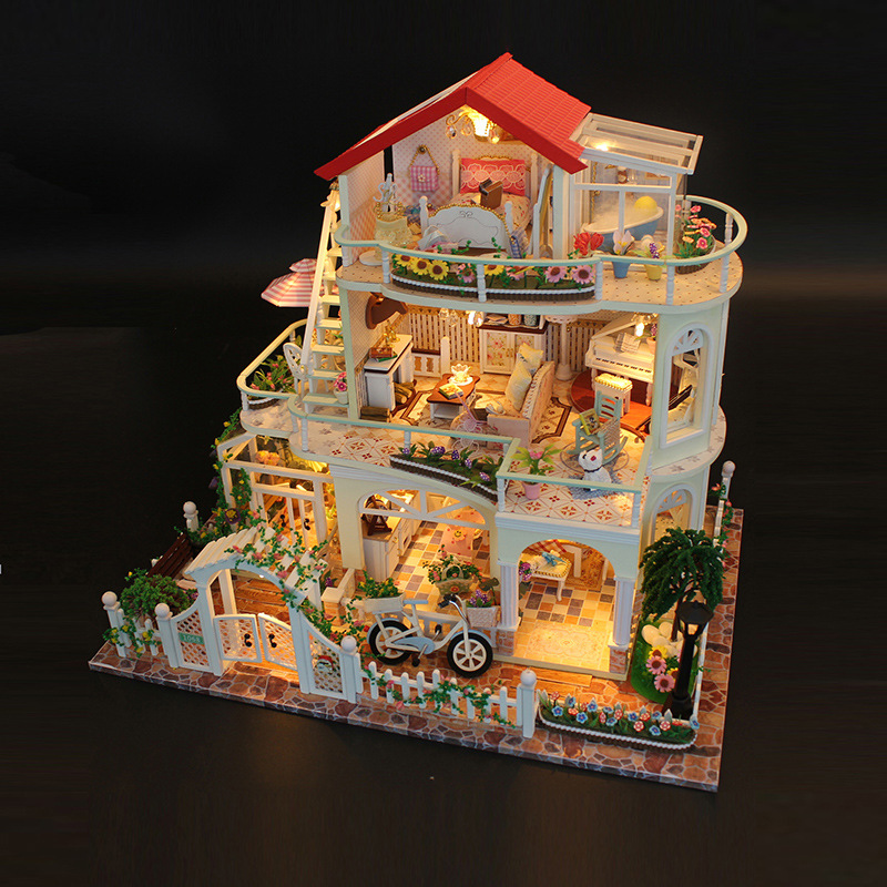 13845 Miniature Doll House villa Model Building Kits Wooden Furniture Toys DIY dollhouse big size Christmas gift new arrive diy doll house model building kits 3d handmade wooden miniature dollhouse toy christmas birthday greative gift