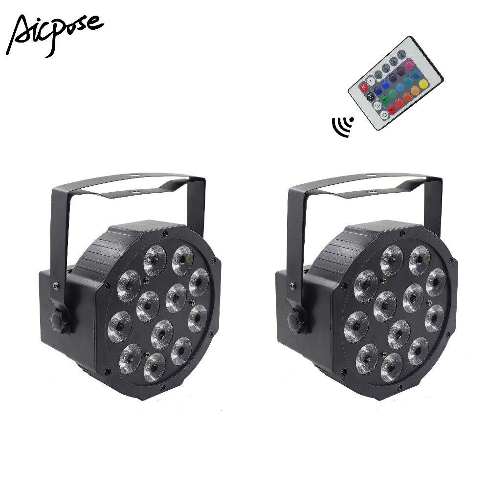 2Pcs/lots 12x12w Led Par With Remote 12pcs 12w Led Lamp Beads RGBW 4in1 Flat Par Led DMX512 Disco Light Professional Stage Light