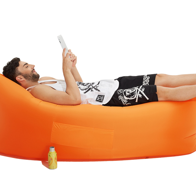Lazy Sleeping Bag Inflatable Hammock Air Sofa Beach Lounger