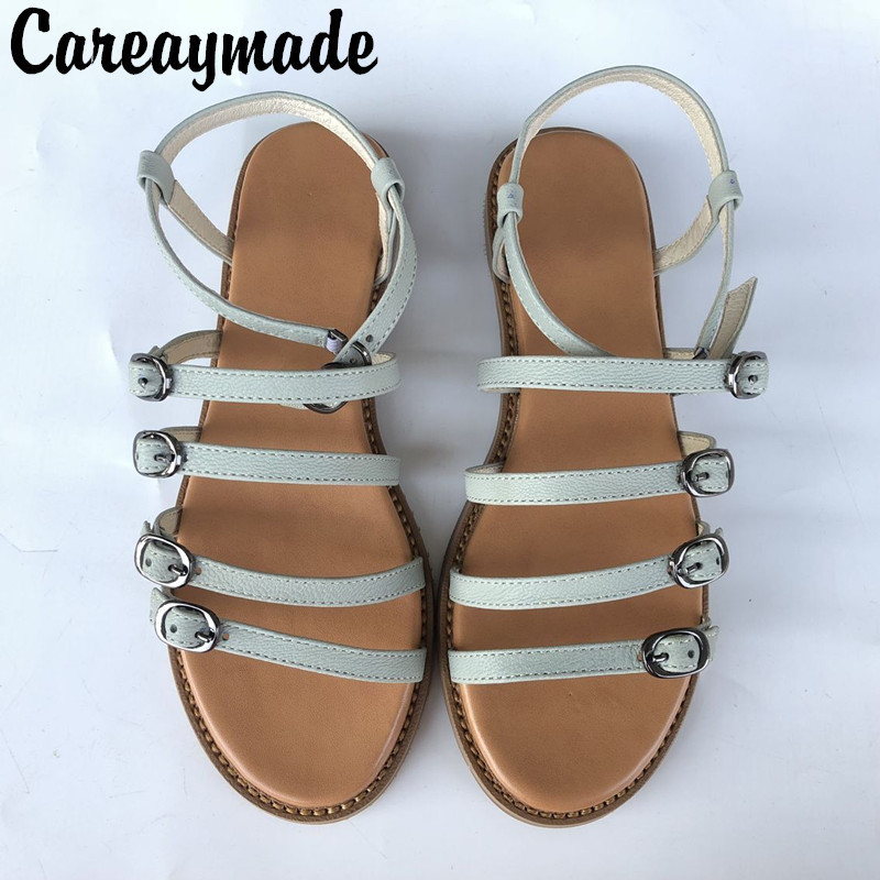 Careaymade New head layer cowhide pure handmade Leisure simple literature Rome wind Sandals retro art mori girl shoes 2 colors in Women 39 s Sandals from Shoes