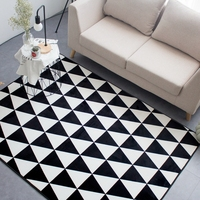 Black And White Triangle Pattern Print Rectangle Doormat Modern Soft Crawling Rugs For Bedroom Anti Slip