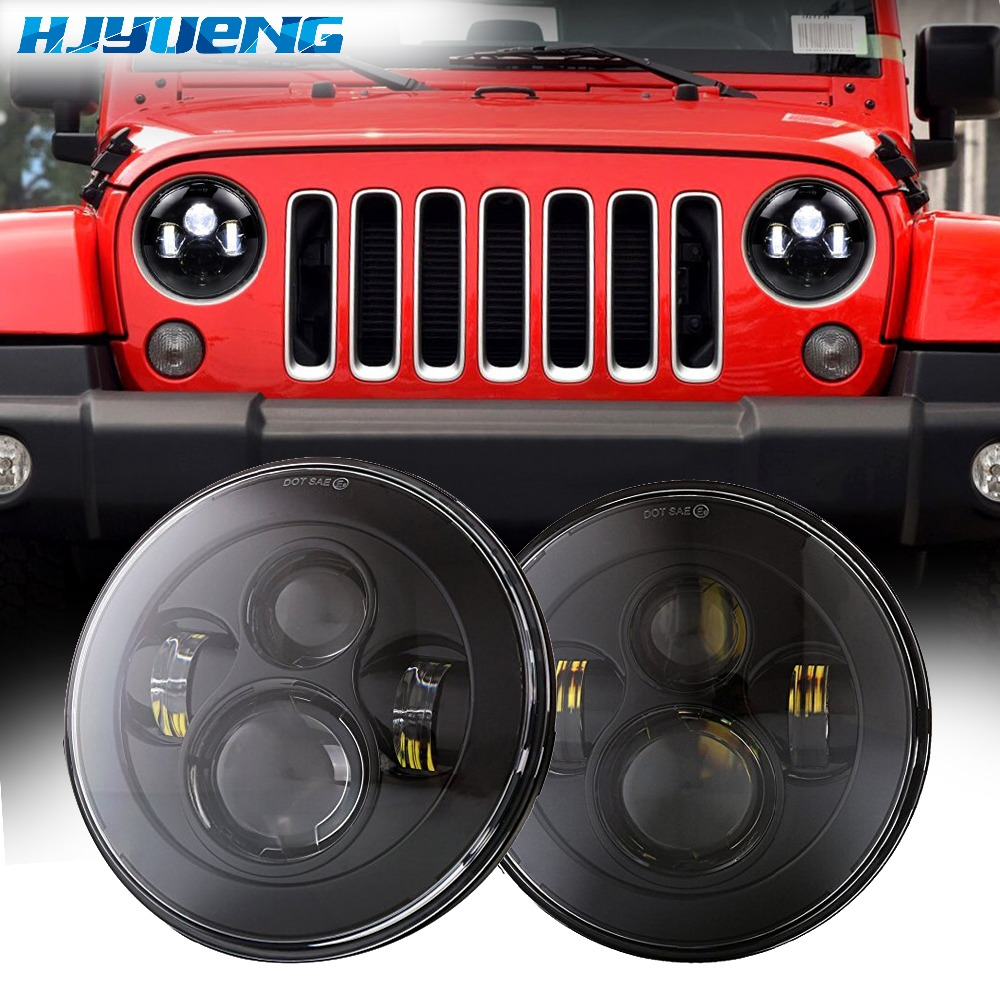 For Jeep Wrangler JK TJ 45w 7Inch H4 Projector Headlamp with 4Inch Round Led Fog Lights 30W and LED Replacement Brake Light
