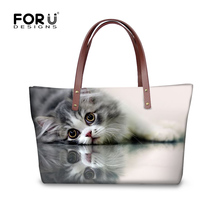 FORUDESIGNS Cute 3D Cat Women Handbag Lady Casual Shoulder Messenger Bags Cross-body Bag For Woman Bolsas Femininas Travel Tote