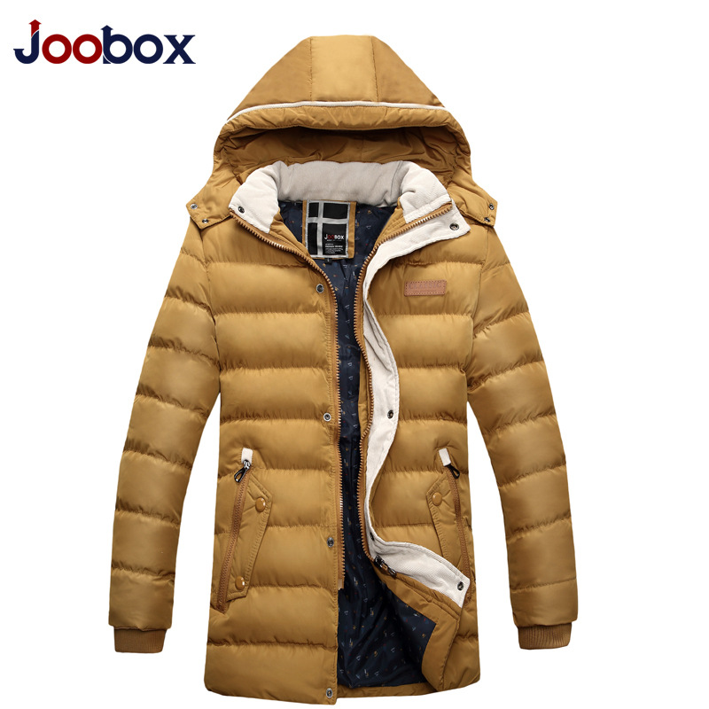 JOOBOX 2018 New Winter Thick Padded Parka Men Jacket Coat Wadded Long Hooded Casual Warm Snow Windbreaker Overcoat Male Jackets new pure color hooded cotton padded clothing jackets business long thick winter coat men solid parka fashion overcoat outerwear