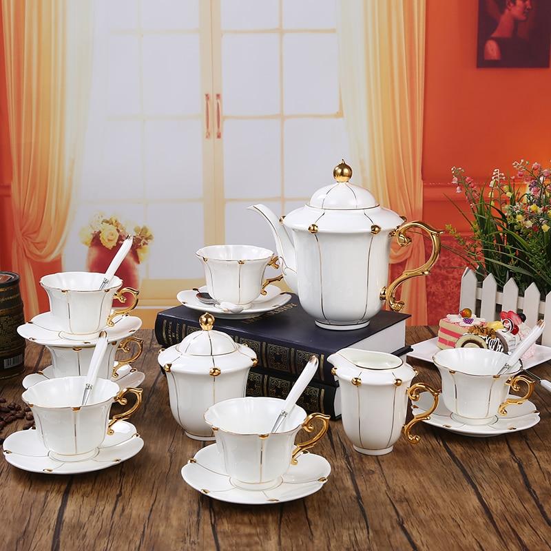 Ensemble de café en céramique dorée peinte à la main | style européen, ensemble de 15 pièces de café en porcelaine, thé de l'après-midi, soucoupe thé