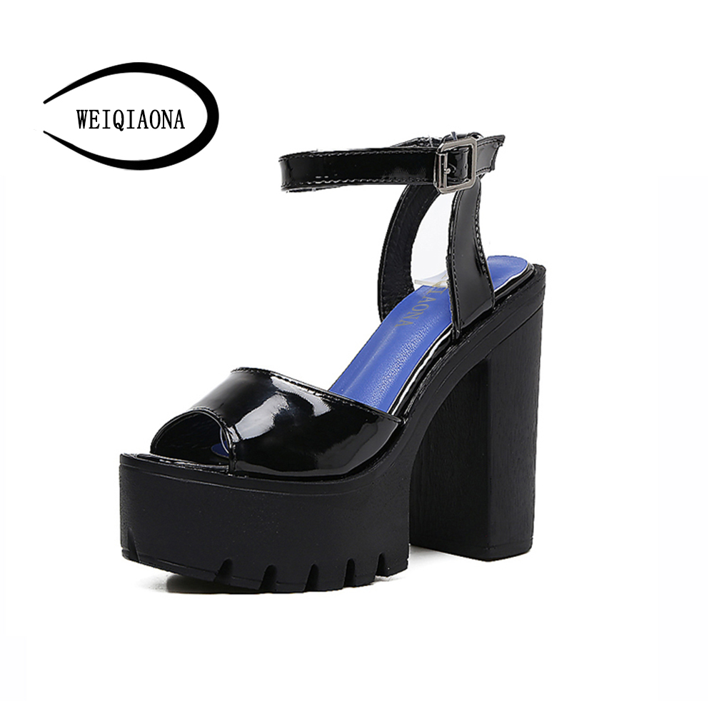 WEIQIAONA New Fashion Platform thick sole 13cm Heels Shoes Sexy Pumps Women's Shoes Fashion Best High Heels Women sandals