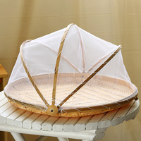 Hand woven Bamboo basket storage basket for mosquito/fly control vegetable/fruit storage basket with net cover drying basket