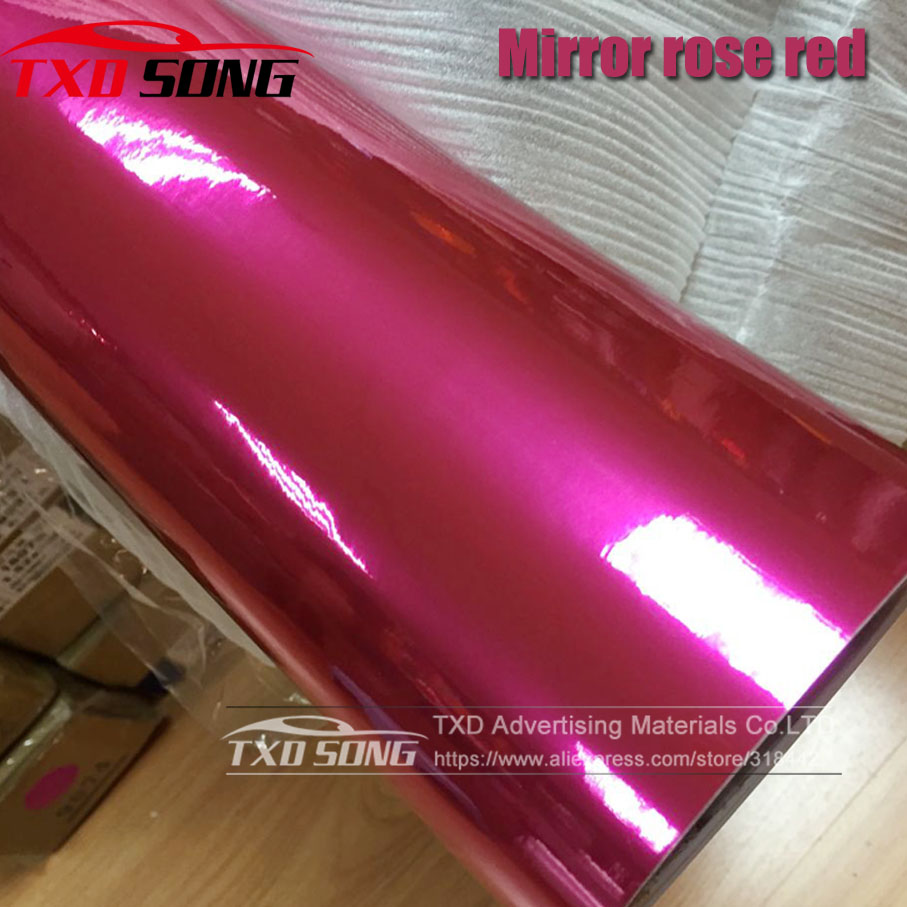 50CM*1M/2M/3M/4M/5M Roll Car styling High stretchable Mirror Rose Red Chrome Mirror Vinyl Wrap Sheet Roll Film Car Sticker-in Car Stickers from Automobiles & Motorcycles