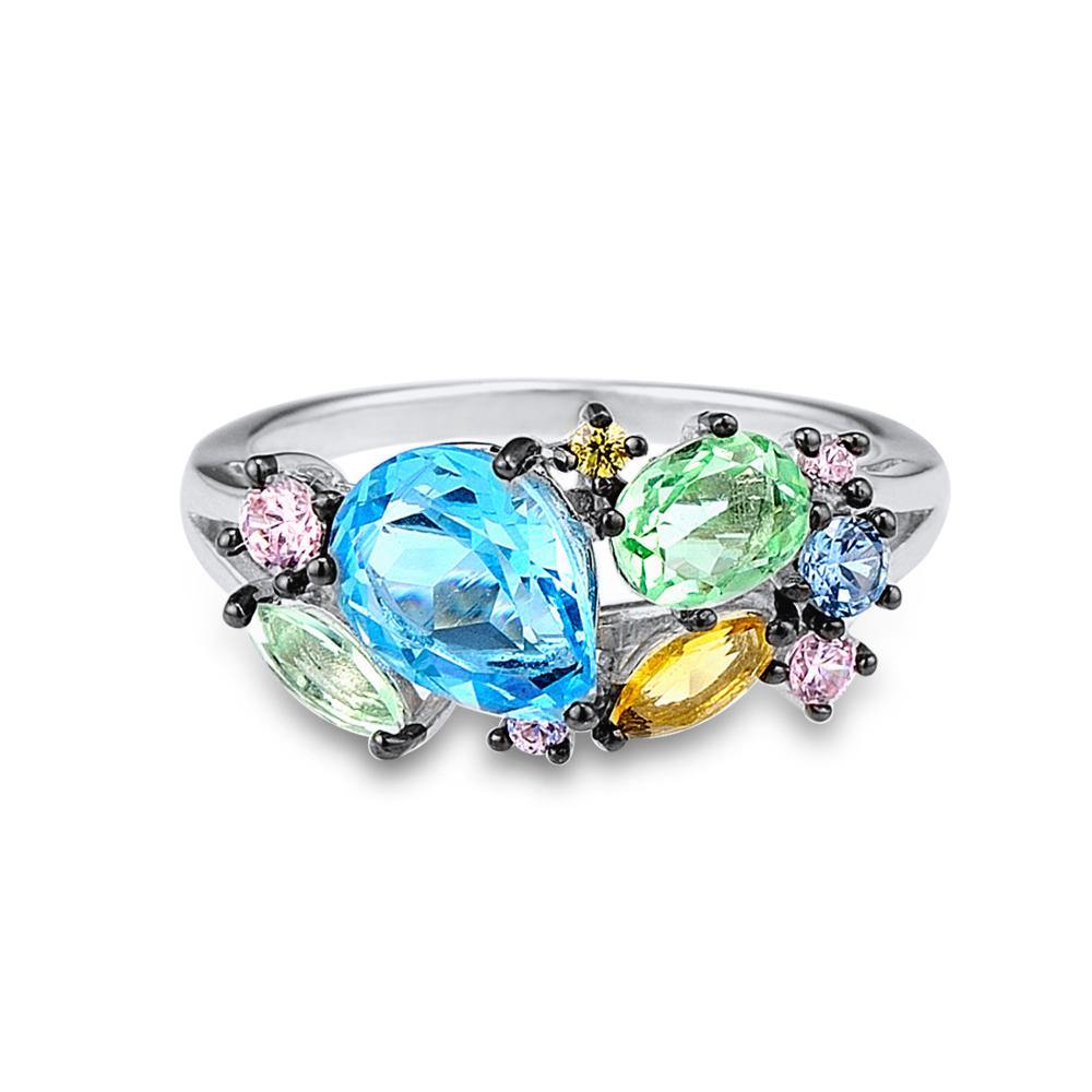 Image 2 - SANTUZZA Silver Ring For Women 925 Sterling Silver Shiny Multi Color Gem Stones for Women Elegant Party Fashion Jewelryring for women 925fashion rings for womenrings for women -