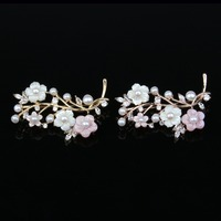 Fashion Jewelry High Quality Natural Pearl Shell Flower Zircon Brooch Pins Brooches Wedding Accessories 2 Color