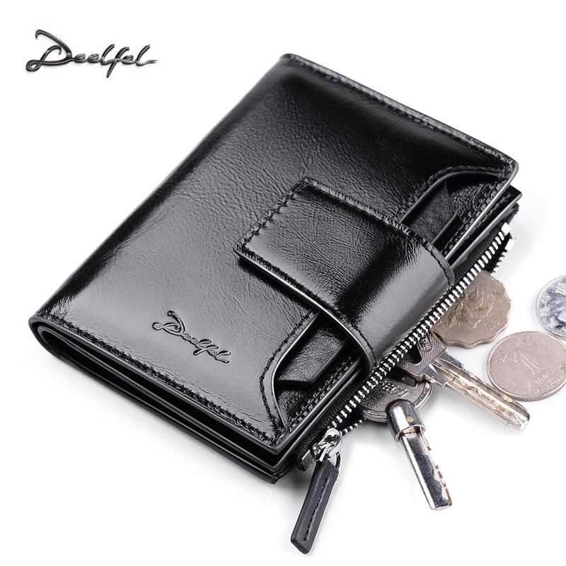 Deelfel Genuine Cow Leather Men Wallet Fashion Coin Pocket Small Vintage Men Walet Male Short Card Holder Purse Brand Wallets