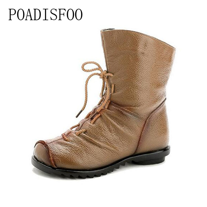 POADISFOO Vintage Style Genuine Leather Women Boots Flat Booties Soft Cowhide Women s Shoes Front Zip