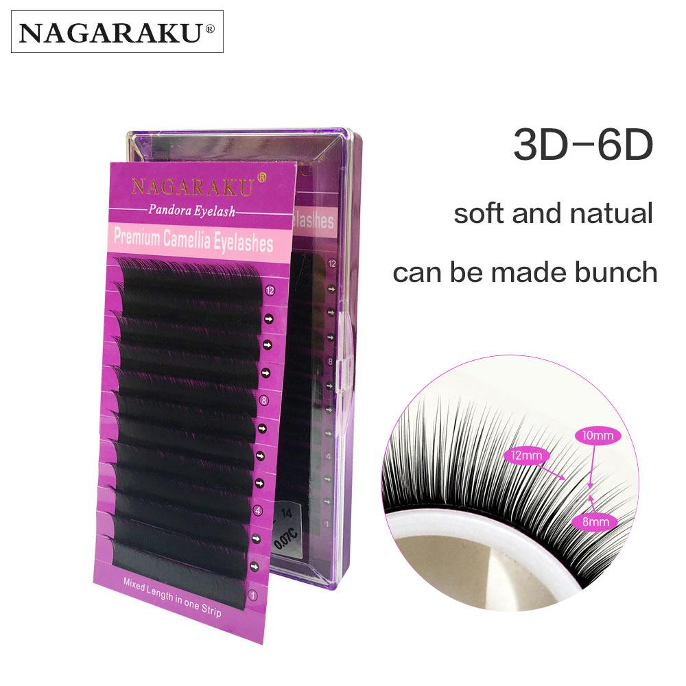 NAGARAKU New material 12 rows Volume Eyelash Extensions Mixed Length in One Lash Strip Camellia Eyelash Pandora Eyelashes