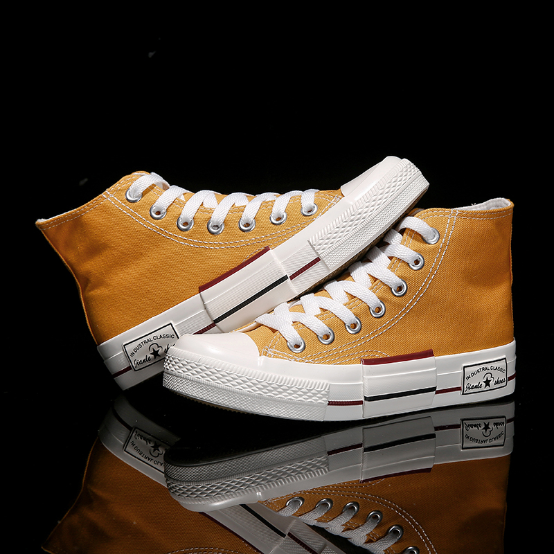 new High-top canvas shoes womens casual breathable sneakers women vulcanized yellow comfortable high-top flat