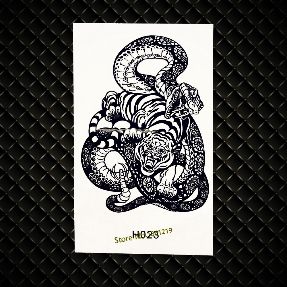 Diplomatic 3d Snake Tiger Fighter Waterproof Temporary Tattoo Stickers Men Body Art Arm Totem Tattoo Gh023 Black Fake Flash Tattoo Stickers Temporary Tattoos