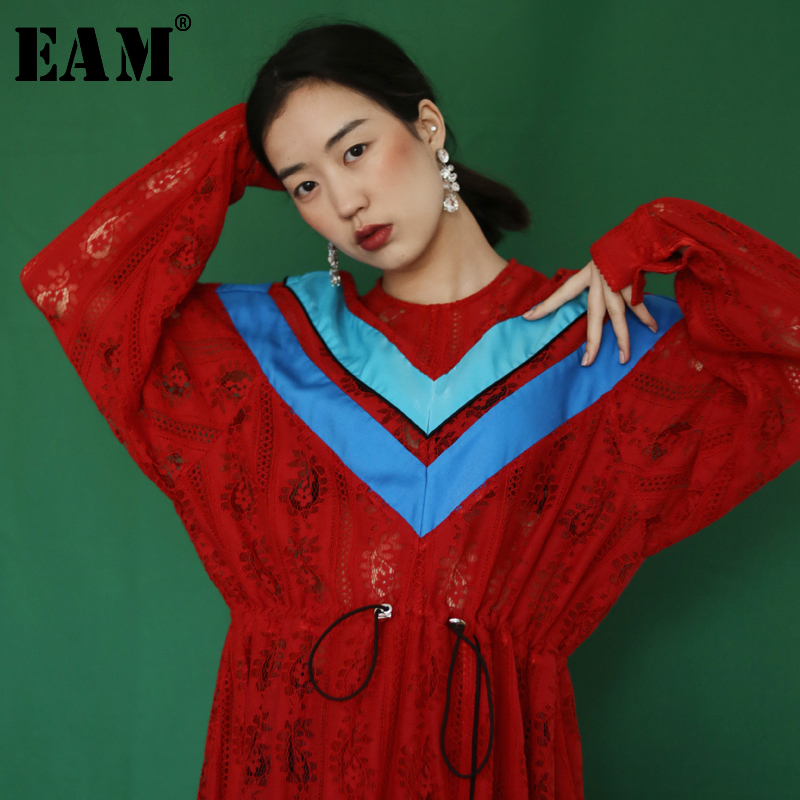 EAM 2019 New Spring Summer Round Neck Long Sleeve Striped Big Size Lace Hollow Out
