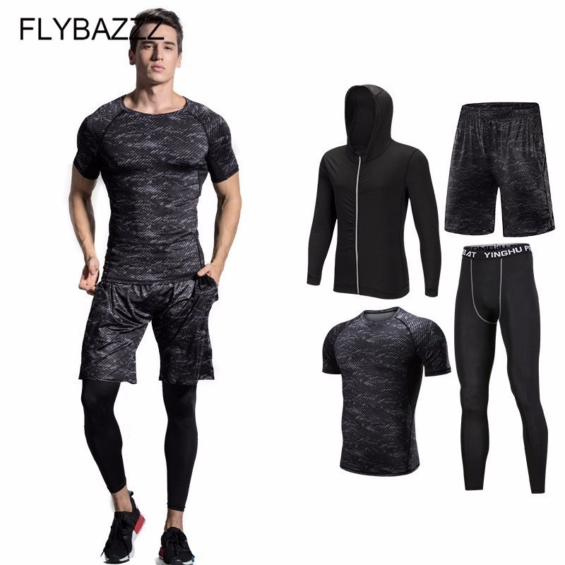 Men Compression Sports Suit Breathable Gym Workout Clothes Jogging Elastic Tracksuit Fitness Training Running Sets Sportswear