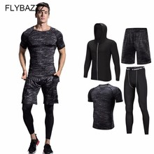Men Compression Sports Suit Breathable Gym Workout Clothes Jogging Elastic Tracksuit Fitness Training Running Sets Sportswear sport suit women fitness clothing running sets polyester breathable ladys sportswear zip pocket training jogging sportsuit