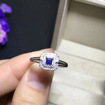 Lovely Small delicate round Natural blue sapphire gem Ring S925 Silver Natural gemstone Ring girl Women's party gift Jewelry
