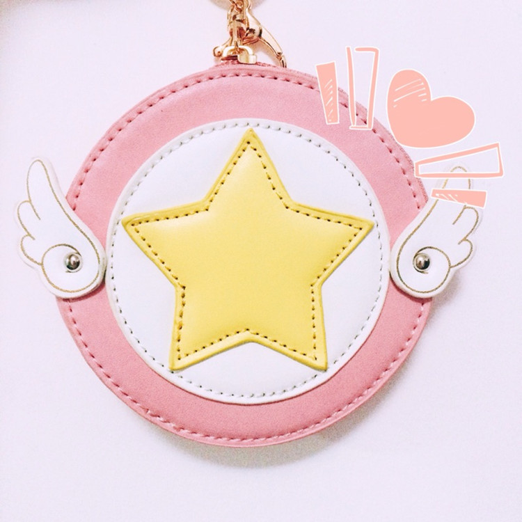 Anime Card Captor cos SAKURA cute cartoon Korean casual Round purse Star wings pink Coin ...