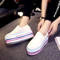 2016 Женщин Платформы Обувь повседневная Высокие Женщины Мода Красочные Толстым Дном Холст Мокасины Zapatos Mujer Осень