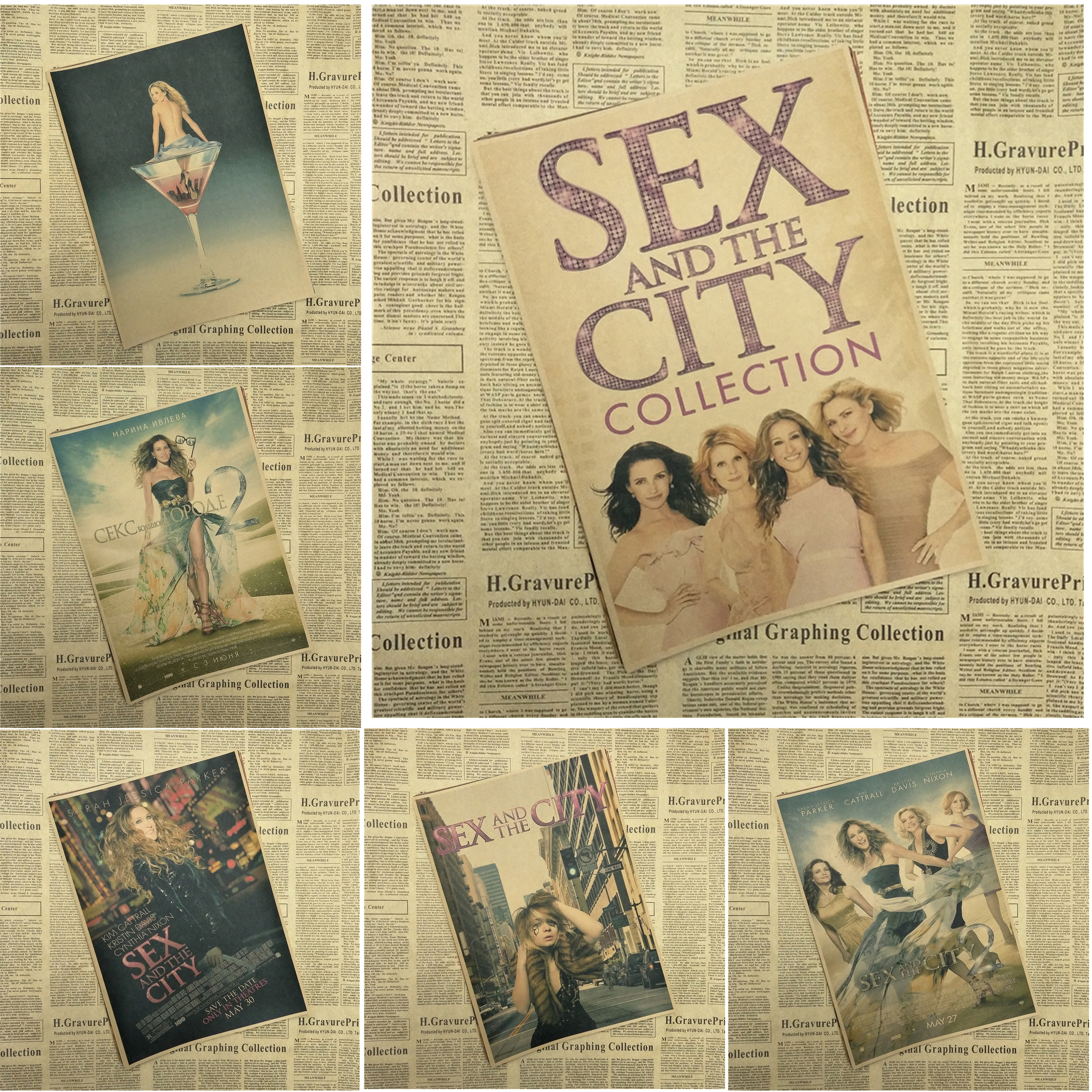 Sex and the City Classic Movie Kraft Paper Poster Bar Cafe Living Room Dining room Wall Decorative Paintings image