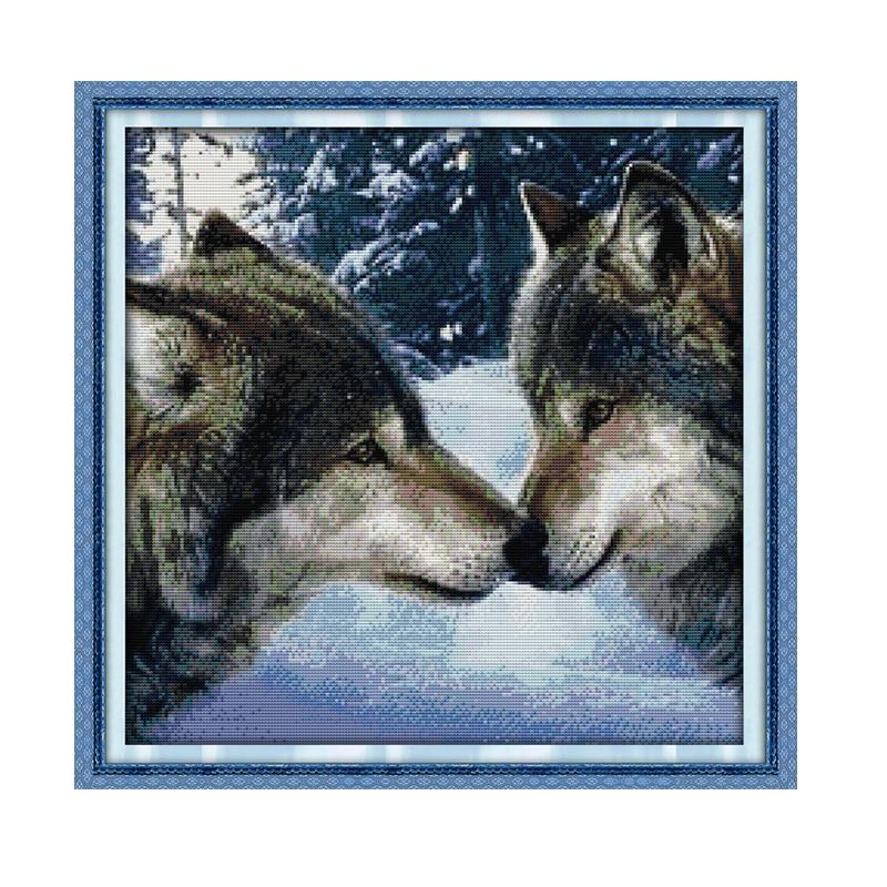 שמחה יום ראשון ערכות תפר צלב זאבים נשיקות DMC14CT11CT בד כותנה חדר קריאה בסלון חדר תה תיאור מפעל סיטונאי