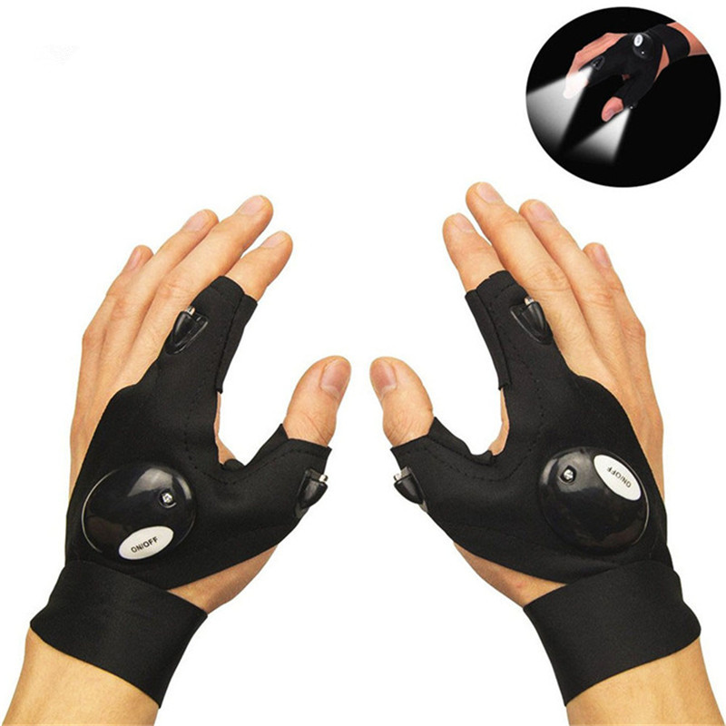 Useful Fingerless LED Flashlight Gloves Night Light For Repairing Fishing Camping Hiking Outdoor Activities Rescue Tools Lamp