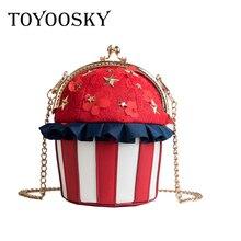 TOYOOSKY 2018 Women Shoulder Bag Cupcake Cake Shape Female Frame Cute Panelled PU Leather Messenger Bag Clutch Handbag for Girls