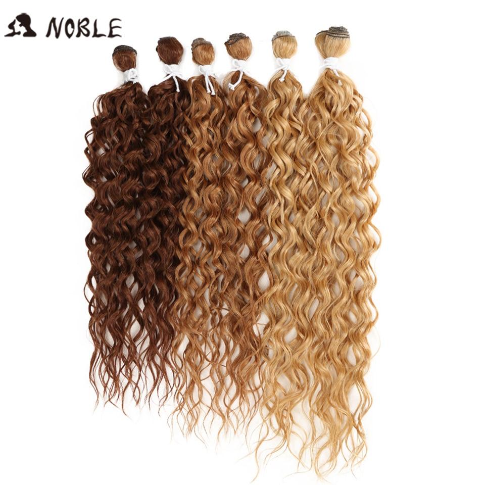 Kinky do Cabelo Extensão do Cabelo Feixes de Cabelo para as Mulheres Nobre Polegada Peças – Lote Afro Encaracolado Sintético Ombre Negras Cabelo 24-28 6